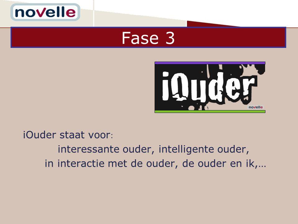 iOuder staat voor : interessante ouder, intelligente ouder, in interactie met de ouder, de ouder en ik,… Fase 3