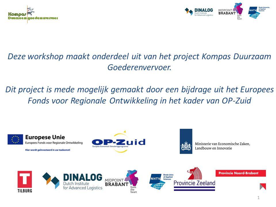 Deze workshop maakt onderdeel uit van het project Kompas Duurzaam Goederenvervoer. Dit project is mede mogelijk gemaakt door een bijdrage uit het Euro