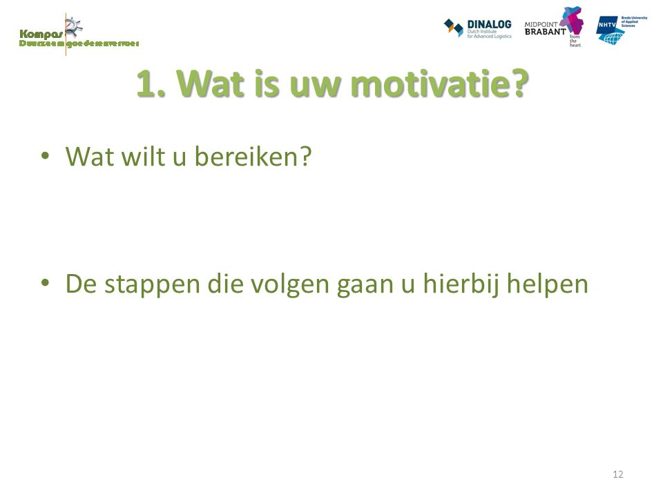 1. Wat is uw motivatie? Wat wilt u bereiken? De stappen die volgen gaan u hierbij helpen 12