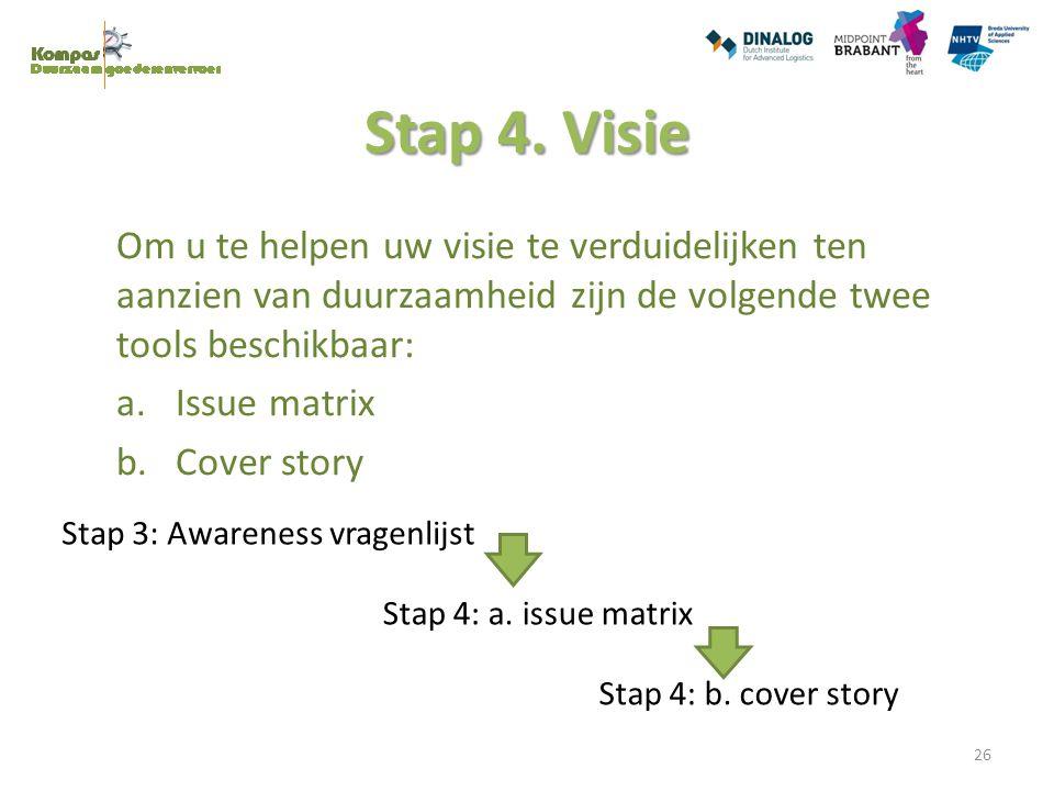 Stap 4. Visie Om u te helpen uw visie te verduidelijken ten aanzien van duurzaamheid zijn de volgende twee tools beschikbaar: a.Issue matrix b.Cover s