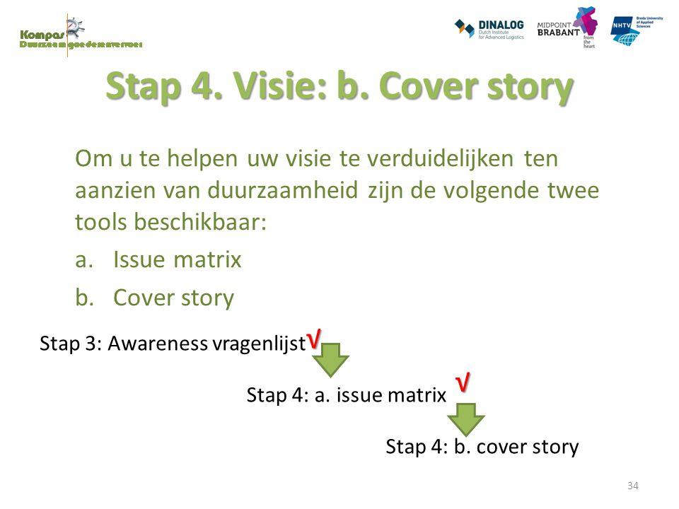 Stap 4. Visie: b. Cover story Om u te helpen uw visie te verduidelijken ten aanzien van duurzaamheid zijn de volgende twee tools beschikbaar: a.Issue