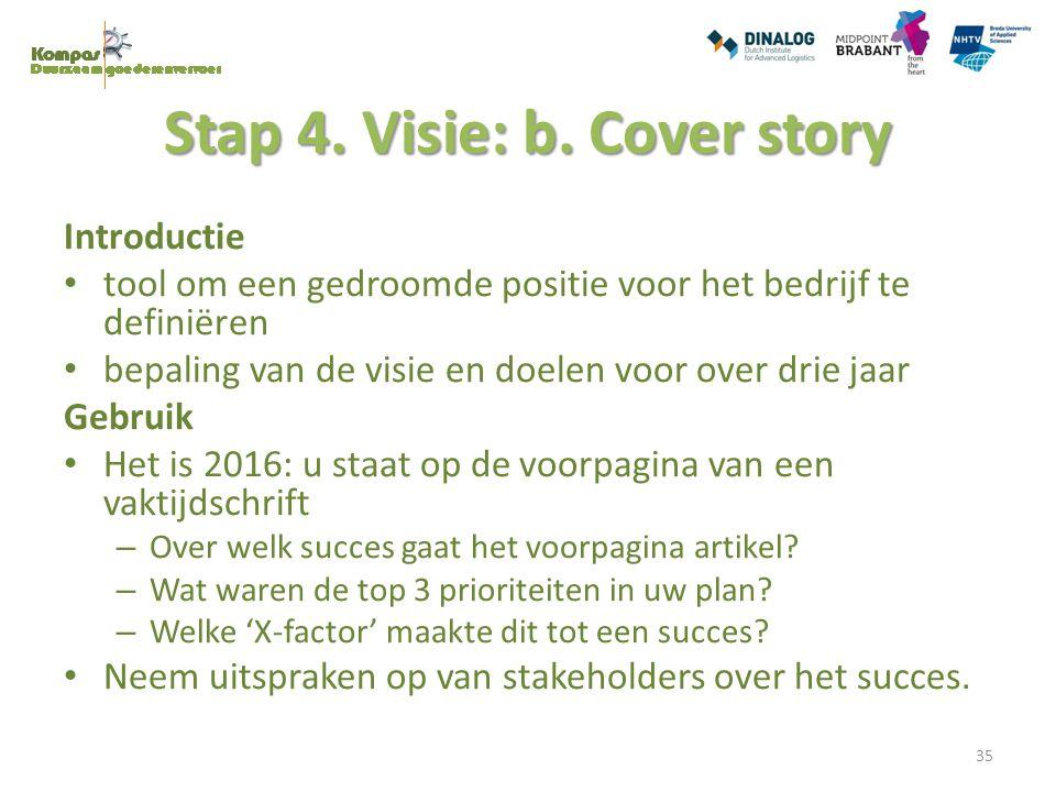 Stap 4. Visie: b. Cover story Introductie tool om een gedroomde positie voor het bedrijf te definiëren bepaling van de visie en doelen voor over drie