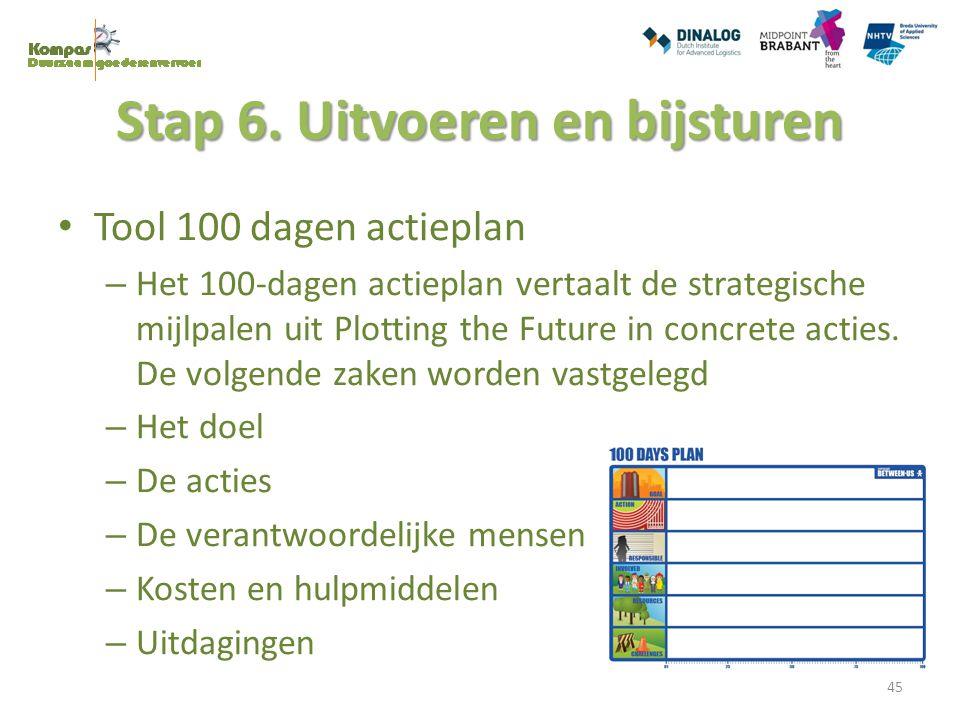 Stap 6. Uitvoeren en bijsturen Tool 100 dagen actieplan – Het 100-dagen actieplan vertaalt de strategische mijlpalen uit Plotting the Future in concre