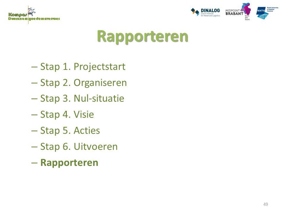 Rapporteren – Stap 1. Projectstart – Stap 2. Organiseren – Stap 3. Nul-situatie – Stap 4. Visie – Stap 5. Acties – Stap 6. Uitvoeren – Rapporteren 49