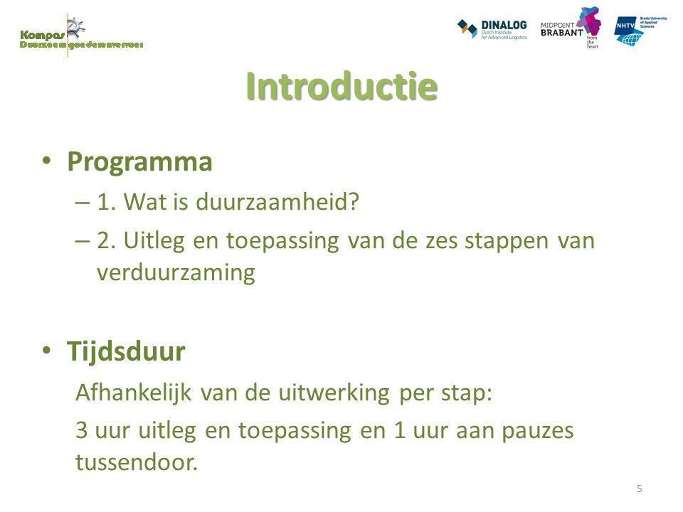 Introductie Programma – 1. Wat is duurzaamheid? – 2. Uitleg en toepassing van de zes stappen van verduurzaming Tijdsduur Afhankelijk van de uitwerking