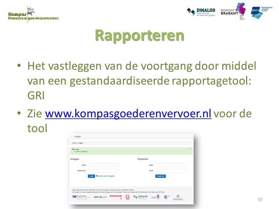 Rapporteren Het vastleggen van de voortgang door middel van een gestandaardiseerde rapportagetool: GRI Zie www.kompasgoederenvervoer.nl voor de toolww