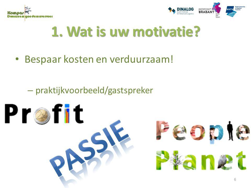 1.Wat is uw motivatie. Vraag: Wat is volgens u verduurzamen.