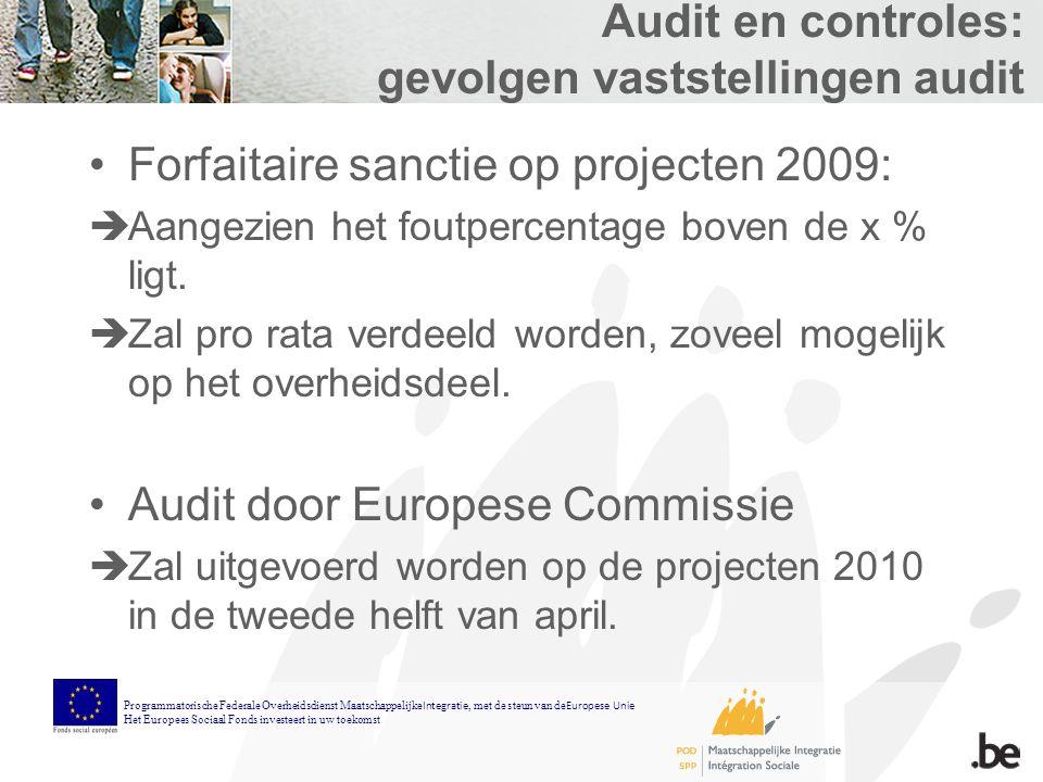 Audit en controles: gevolgen vaststellingen audit Forfaitaire sanctie op projecten 2009:  Aangezien het foutpercentage boven de x % ligt.