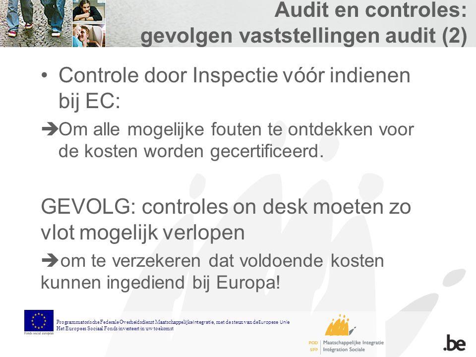 Audit en controles: gevolgen vaststellingen audit (2) Controle door Inspectie vóór indienen bij EC:  Om alle mogelijke fouten te ontdekken voor de kosten worden gecertificeerd.