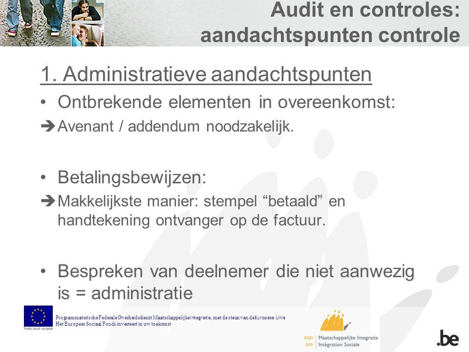 Audit en controles: aandachtspunten controle 1.