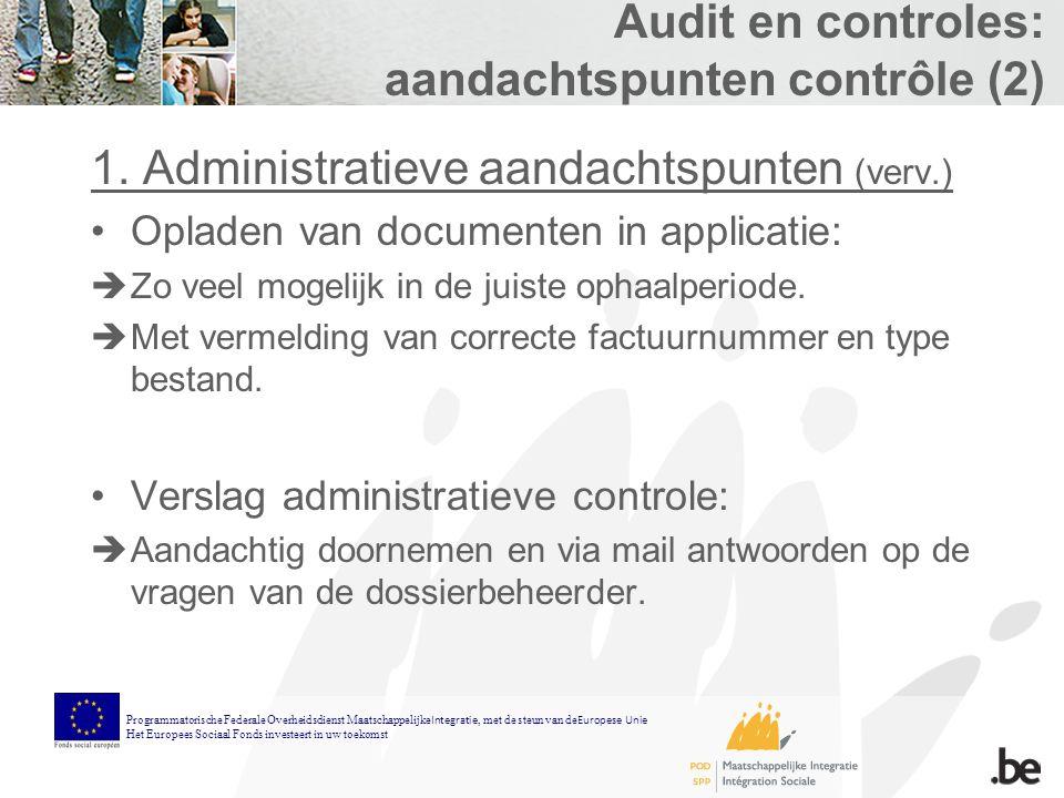 Audit en controles: aandachtspunten contrôle (2) 1.