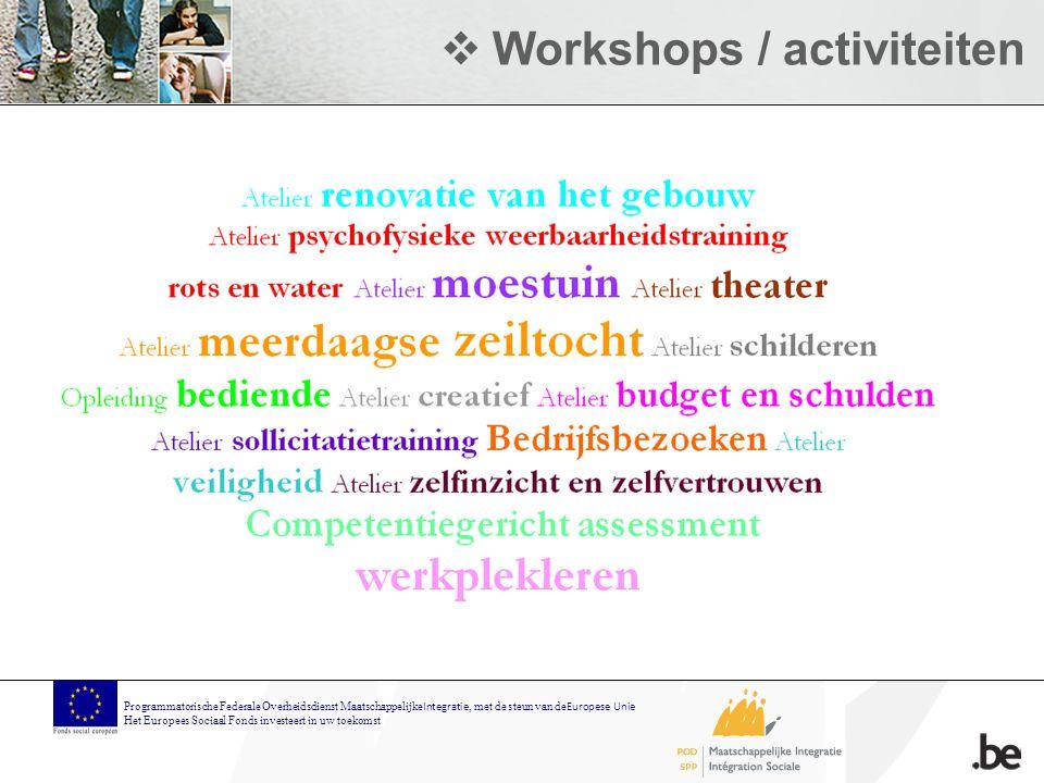  Workshops / activiteiten Programmatorische Federale Overheidsdienst Maatschappelijke Integratie, met de steun van de Europese Unie Het Europees Sociaal Fonds investeert in uw toekomst