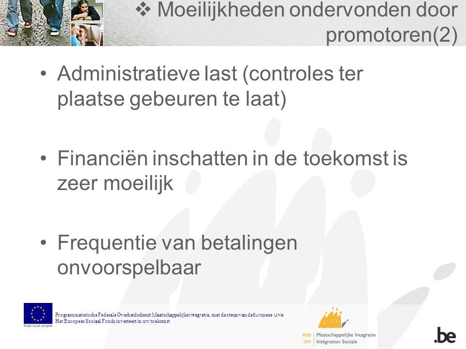  Moeilijkheden ondervonden door promotoren(2) Administratieve last (controles ter plaatse gebeuren te laat) Financiën inschatten in de toekomst is zeer moeilijk Frequentie van betalingen onvoorspelbaar Programmatorische Federale Overheidsdienst Maatschappelijke Integratie, met de steun van de Europese Unie Het Europees Sociaal Fonds investeert in uw toekomst