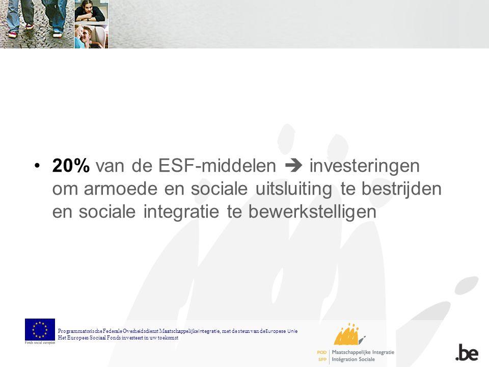 20% van de ESF-middelen  investeringen om armoede en sociale uitsluiting te bestrijden en sociale integratie te bewerkstelligen Programmatorische Federale Overheidsdienst Maatschappelijke Integratie, met de steun van de Europese Unie Het Europees Sociaal Fonds investeert in uw toekomst