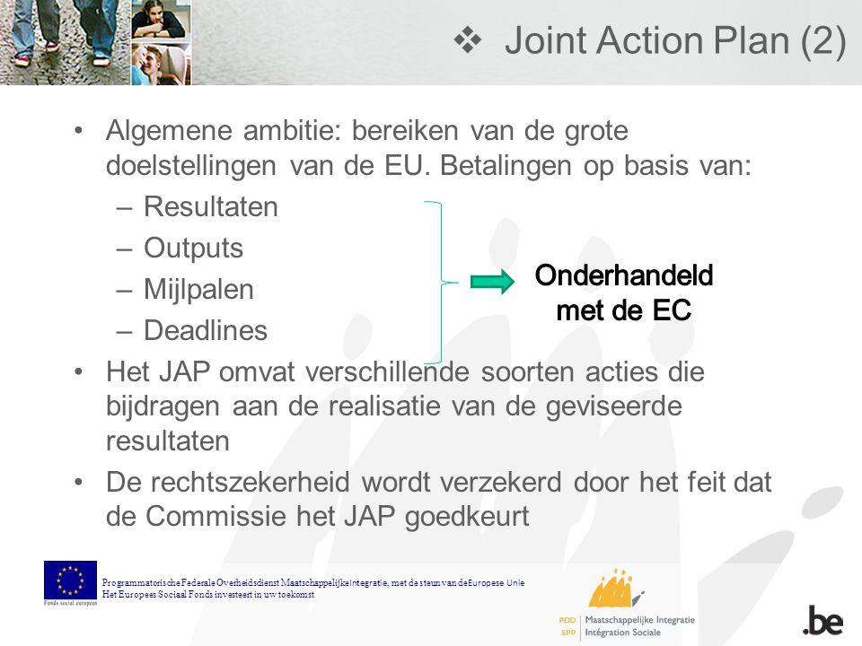  Joint Action Plan (2) Algemene ambitie: bereiken van de grote doelstellingen van de EU.