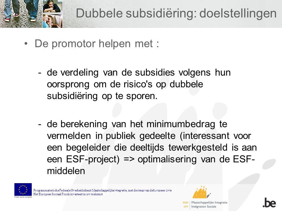 Dubbele subsidiëring: doelstellingen De promotor helpen met : -de verdeling van de subsidies volgens hun oorsprong om de risico s op dubbele subsidiëring op te sporen.