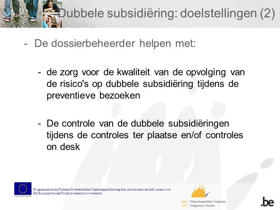 Dubbele subsidiëring: doelstellingen (2) -De dossierbeheerder helpen met: -de zorg voor de kwaliteit van de opvolging van de risico s op dubbele subsidiëring tijdens de preventieve bezoeken -De controle van de dubbele subsidiëringen tijdens de controles ter plaatse en/of controles on desk Programmatorische Federale Overheidsdienst Maatschappelijke Integratie, met de steun van de Europese Unie Het Europees Sociaal Fonds investeert in uw toekomst