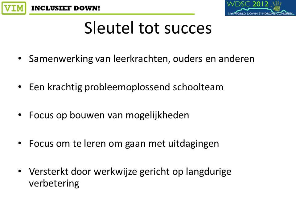 Sleutel tot succes Samenwerking van leerkrachten, ouders en anderen Een krachtig probleemoplossend schoolteam Focus op bouwen van mogelijkheden Focus