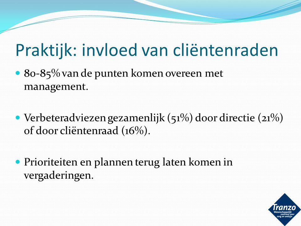 Praktijk: invloed van cliëntenraden 80-85% van de punten komen overeen met management. Verbeteradviezen gezamenlijk (51%) door directie (21%) of door