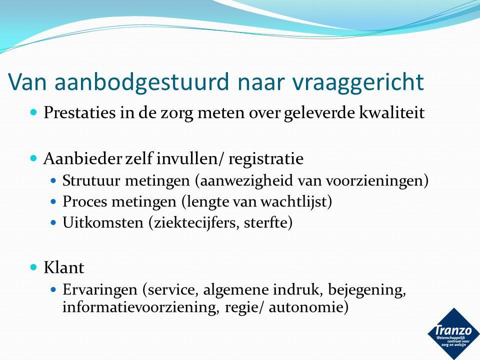 Van aanbodgestuurd naar vraaggericht Prestaties in de zorg meten over geleverde kwaliteit Aanbieder zelf invullen/ registratie Strutuur metingen (aanw