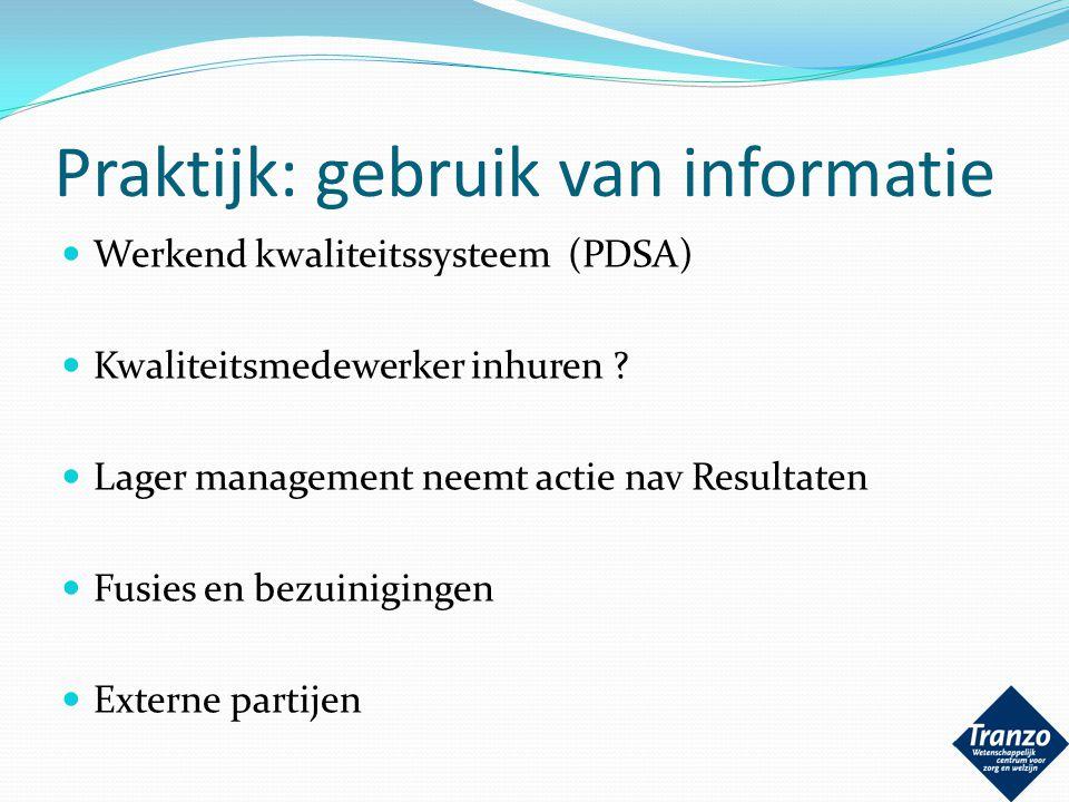 Praktijk: gebruik van informatie Werkend kwaliteitssysteem (PDSA) Kwaliteitsmedewerker inhuren ? Lager management neemt actie nav Resultaten Fusies en