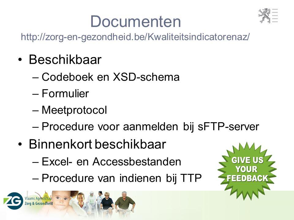 Documenten http://zorg-en-gezondheid.be/Kwaliteitsindicatorenaz/ Beschikbaar –Codeboek en XSD-schema –Formulier –Meetprotocol –Procedure voor aanmelde