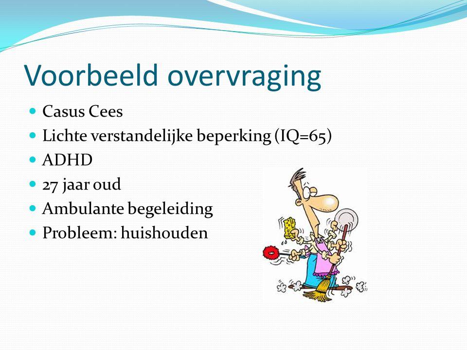 Voorbeeld overvraging Casus Cees Lichte verstandelijke beperking (IQ=65) ADHD 27 jaar oud Ambulante begeleiding Probleem: huishouden