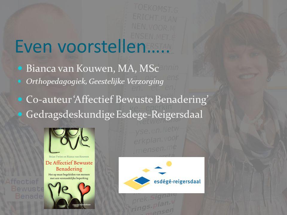 Even voorstellen….. Bianca van Kouwen, MA, MSc Bianca van Kouwen, MA, MSc Orthopedagogiek, Geestelijke Verzorging Orthopedagogiek, Geestelijke Verzorg