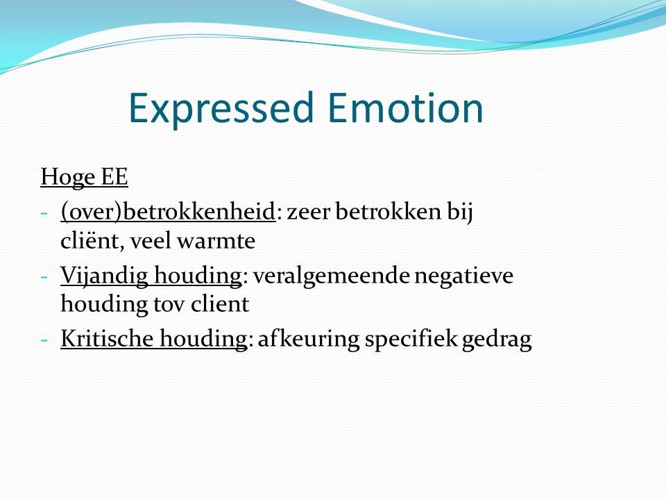 Expressed Emotion Hoge EE - (over)betrokkenheid: zeer betrokken bij cliënt, veel warmte - Vijandig houding: veralgemeende negatieve houding tov client