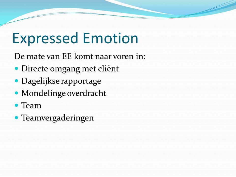 Expressed Emotion De mate van EE komt naar voren in: Directe omgang met cliënt Dagelijkse rapportage Mondelinge overdracht Team Teamvergaderingen