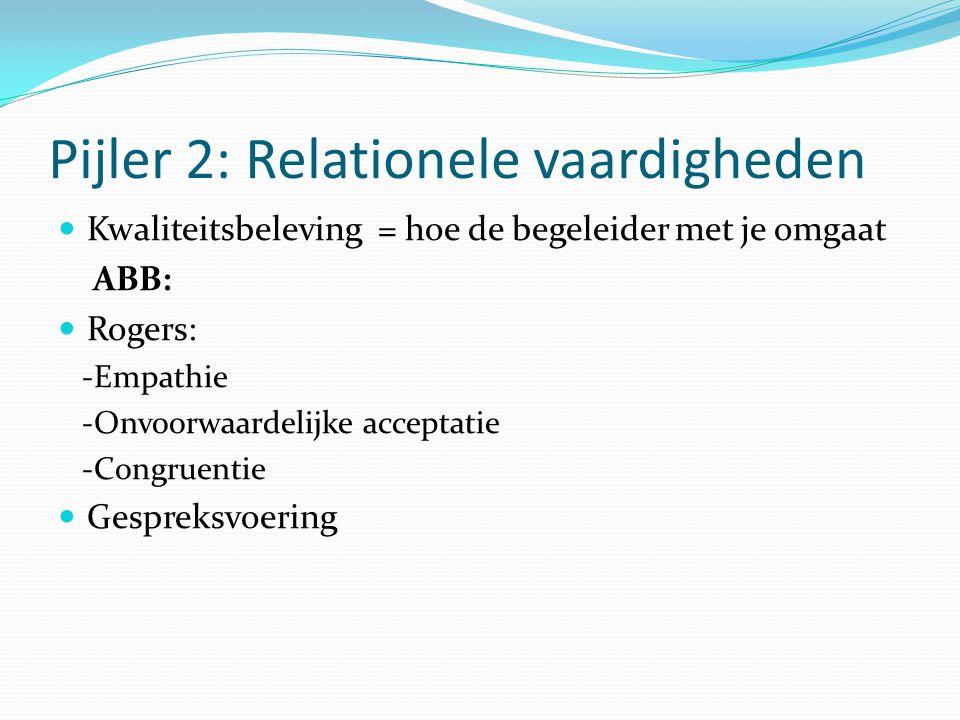 Pijler 2: Relationele vaardigheden Kwaliteitsbeleving = hoe de begeleider met je omgaat ABB: Rogers: -Empathie -Onvoorwaardelijke acceptatie -Congruen