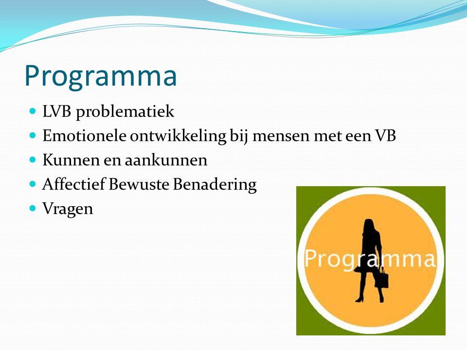 Programma LVB problematiek Emotionele ontwikkeling bij mensen met een VB Kunnen en aankunnen Affectief Bewuste Benadering Vragen
