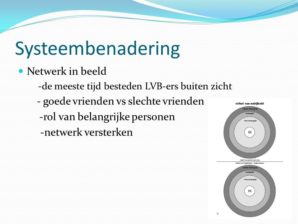 Systeembenadering Netwerk in beeld -de meeste tijd besteden LVB-ers buiten zicht - goede vrienden vs slechte vrienden -rol van belangrijke personen -n