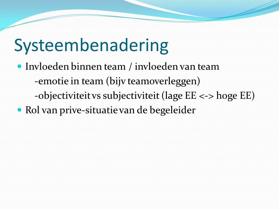 Systeembenadering Invloeden binnen team / invloeden van team -emotie in team (bijv teamoverleggen) -objectiviteit vs subjectiviteit (lage EE hoge EE)