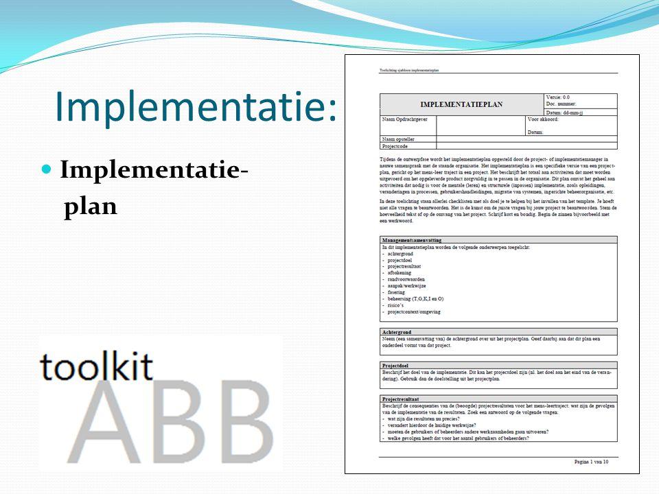 Implementatie: Implementatie- plan