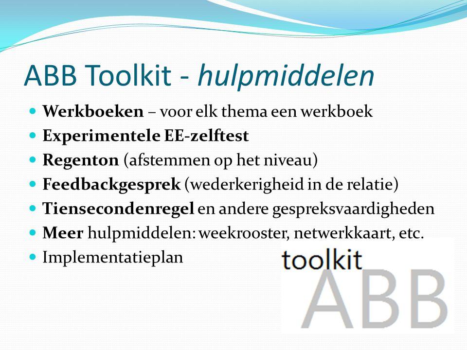 ABB Toolkit - hulpmiddelen Werkboeken – voor elk thema een werkboek Experimentele EE-zelftest Regenton (afstemmen op het niveau) Feedbackgesprek (wede