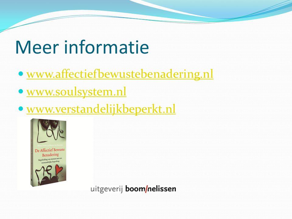 Meer informatie www.affectiefbewustebenadering.nl www.soulsystem.nl www.verstandelijkbeperkt.nl