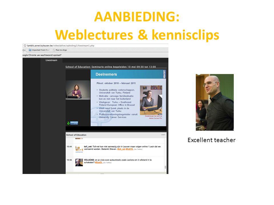 AANBIEDING: Weblectures & kennisclips Excellent teacher