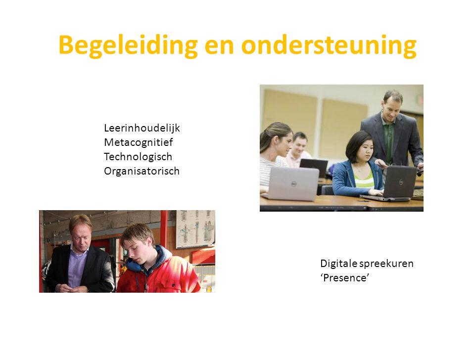 Begeleiding en ondersteuning Leerinhoudelijk Metacognitief Technologisch Organisatorisch Digitale spreekuren 'Presence'
