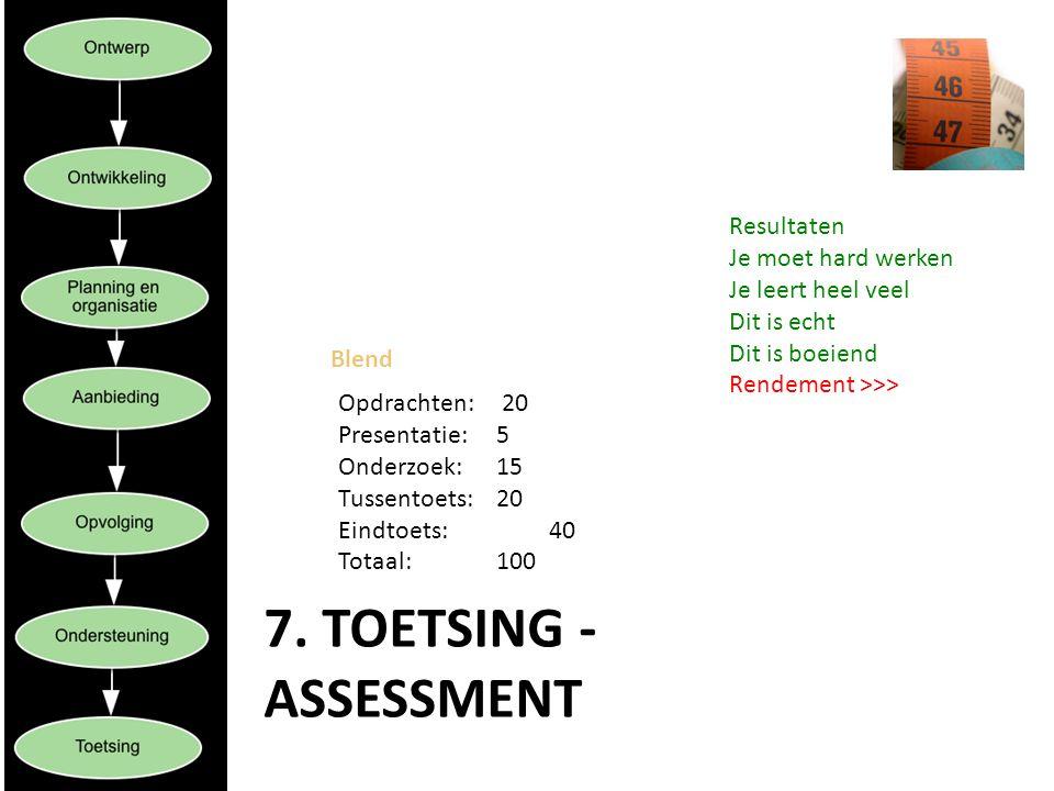 7. TOETSING - ASSESSMENT Blend Opdrachten: 20 Presentatie: 5 Onderzoek: 15 Tussentoets: 20 Eindtoets: 40 Totaal: 100 Resultaten Je moet hard werken Je