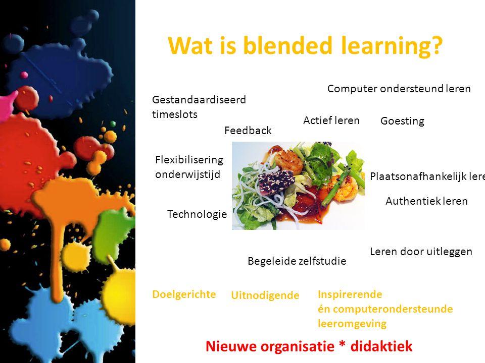 Besluit Blended learning begin je niet zomaar Blended learning stelt hoge eisen aan de student, de lector, de onderwijsorganisatie en de didactiek Blended learning kan je op instapniveau doen, ook op niveau van excellentie Blended learning …