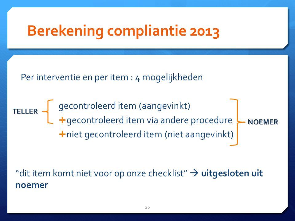 Berekening compliantie 2013 Per interventie en per item : 4 mogelijkheden gecontroleerd item (aangevinkt)  gecontroleerd item via andere procedure  niet gecontroleerd item (niet aangevinkt) dit item komt niet voor op onze checklist  uitgesloten uit noemer 20 NOEMER TELLER