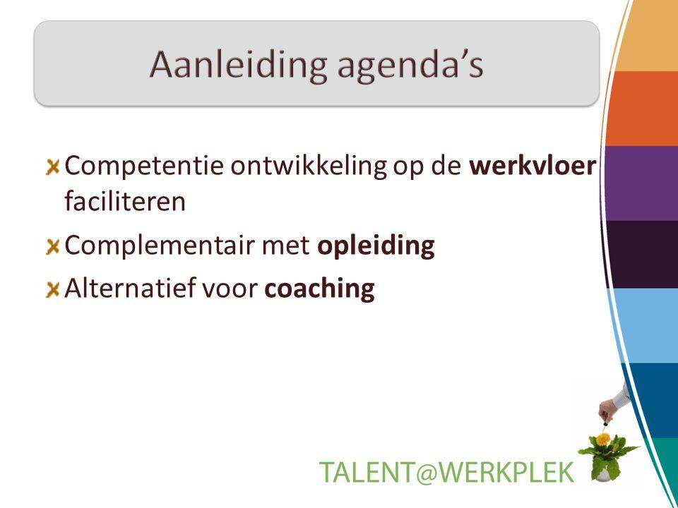 Competentie ontwikkeling op de werkvloer faciliteren Complementair met opleiding Alternatief voor coaching