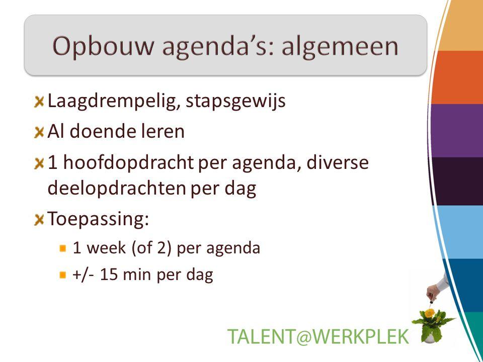 Laagdrempelig, stapsgewijs Al doende leren 1 hoofdopdracht per agenda, diverse deelopdrachten per dag Toepassing: 1 week (of 2) per agenda +/- 15 min