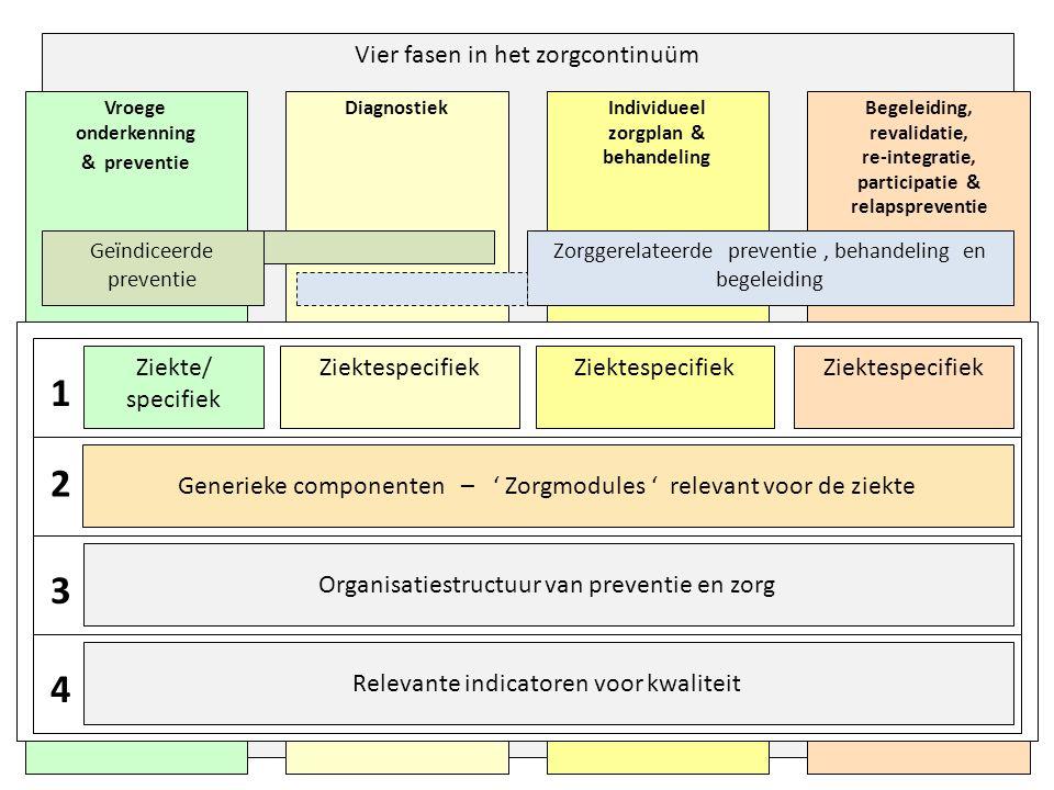 Vier fasen in het zorgcontinuüm Begeleiding, revalidatie, re-integratie, participatie & relapspreventie Individueel zorgplan & behandeling Diagnostiek