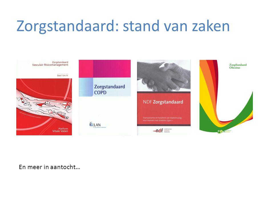 Zorgstandaard: stand van zaken En meer in aantocht…