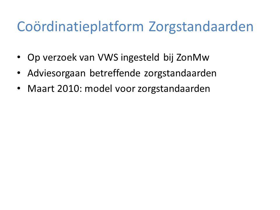 Coördinatieplatform Zorgstandaarden Op verzoek van VWS ingesteld bij ZonMw Adviesorgaan betreffende zorgstandaarden Maart 2010: model voor zorgstandaa