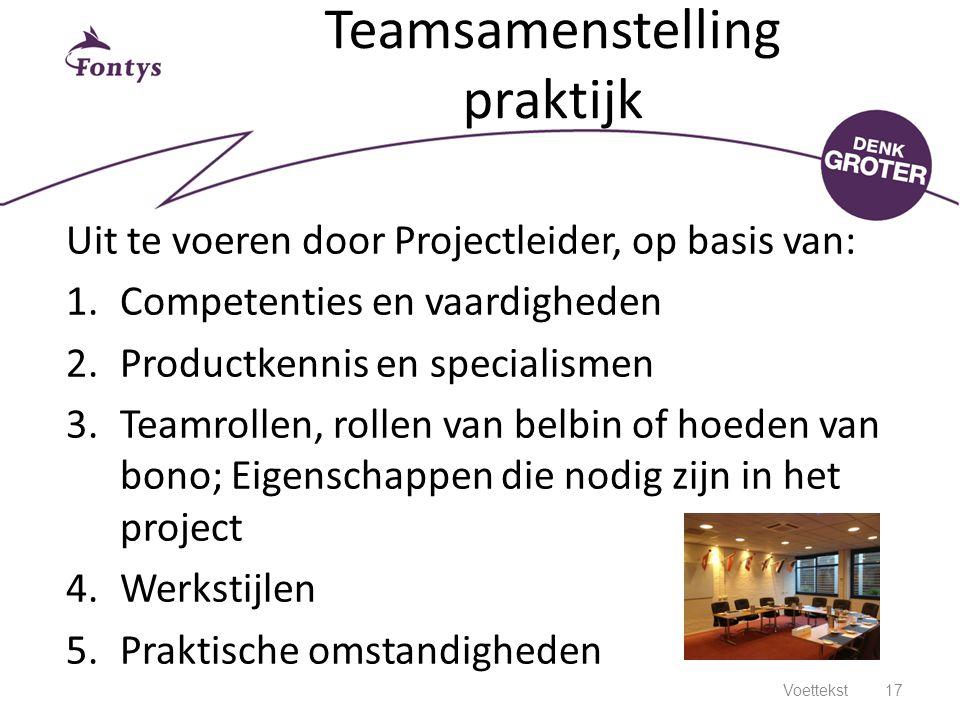 Teamsamenstelling praktijk Uit te voeren door Projectleider, op basis van: 1.Competenties en vaardigheden 2.Productkennis en specialismen 3.Teamrollen
