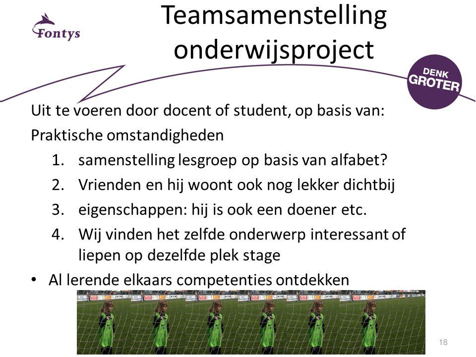 Teamsamenstelling onderwijsproject Uit te voeren door docent of student, op basis van: Praktische omstandigheden 1.samenstelling lesgroep op basis van