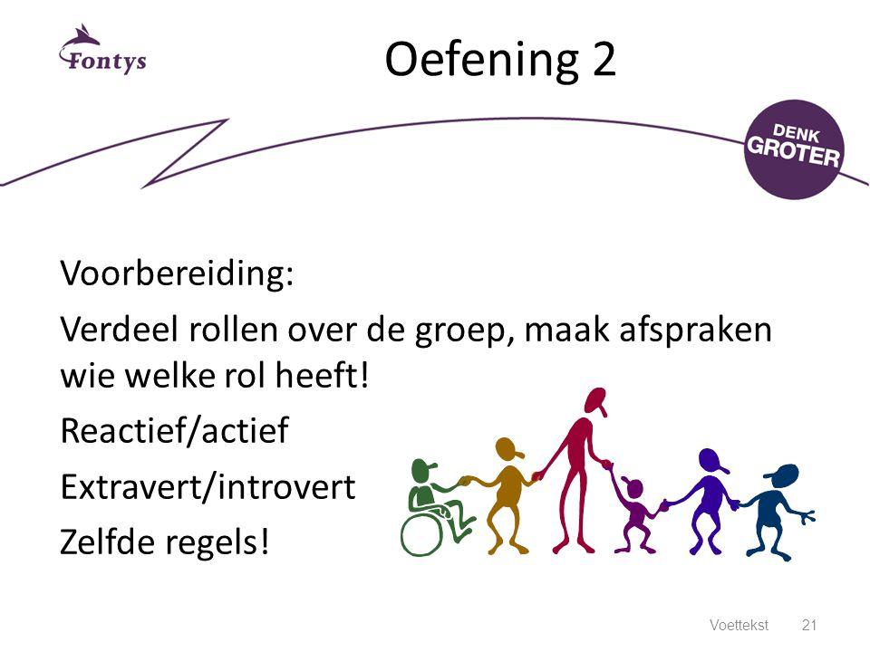 Oefening 2 Voorbereiding: Verdeel rollen over de groep, maak afspraken wie welke rol heeft! Reactief/actief Extravert/introvert Zelfde regels! Voettek